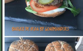 Burger de veau, tomates confites, mozzarella et pignons de pin