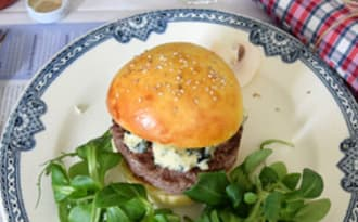 Burger boeuf, bleu et champignon