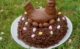 Gâteau nid de Pâques au chocolat