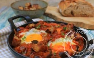 Aubergines aux œufs et croûtons
