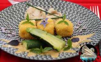 Lotte et carré frais en croûte de pain courgettes et vinaigrette à l'anchois