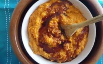 Purée de patates douces à l'ail rôti