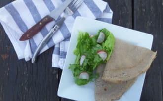 Galettes de sarrasin au chou, champignons et chèvre