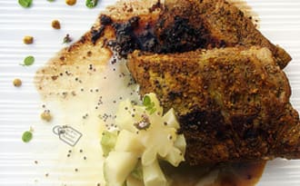 Spare ribs basse température, tronc de brocoli moutarde crapuleuse et bière crapule de Huccorgne