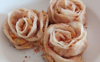 Jiaozi en forme de rose
