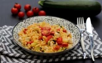 Risotto de coquillettes au poulet, chorizo, courgette et tomates cerises