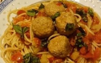 Boulettes de veau tomates et courgettes