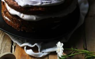 Layer carrot cake crème myrtilles