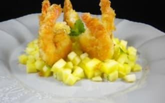 Gambas « pankées » sur salsa de mangue