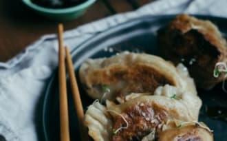 Dumplings aux champignons, figues, Gorgonzola et noix