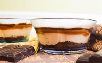 Verrines décadentes chocolat, mascarpone, caramel