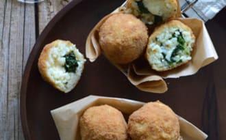 Arancini à la mozzarella et épinards