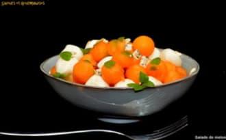 Salade de melon, mozzarella et Fourme d'Ambert