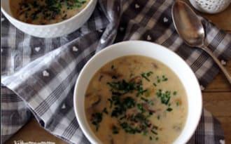 Soupe de riz sauvage aux champignons
