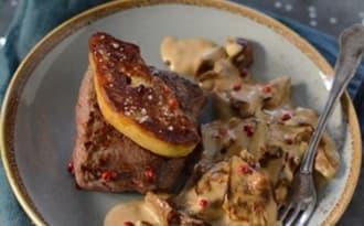 Pavé de boeuf au foie gras et cèpes