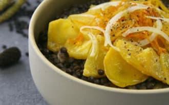 Salade de lentilles et rutabaga confit