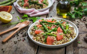 Salade de quinoa asperges pamplemousse