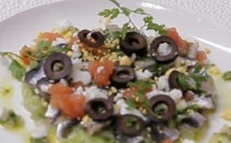 Mimosa de sardines à l'huile d'olive et olives confites