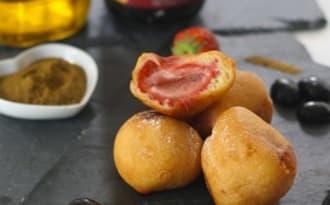 Beignets de fraises au cumin et huile d'olive