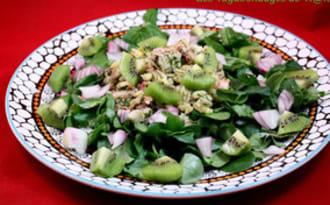 Salade de blé, cresson, poulpe et kiwis