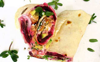 Wraps falafels, avocat, betterave et pourpier