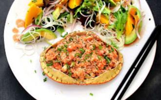 Tourteaux farcis et salade à la thaï