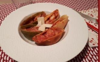 Conchiglioni farcis au cabillaud et tomates