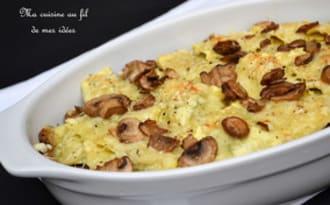 Gratin de raviolis ricotta-basilic aux champignons de Paris