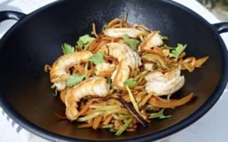 Wok de crevettes aux légumes