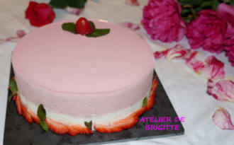 Entremets fraises et vanille