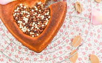 Coeur de financier chocolat Dulcey et noisettes