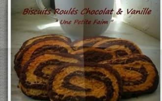 Biscuits roulés chocolat et vanille