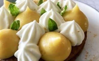 Tartelettes crème citron-basilic, ganache menthe ananas