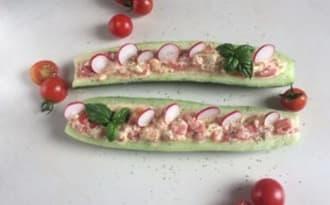 Barquettes de concombre au saumon fumé