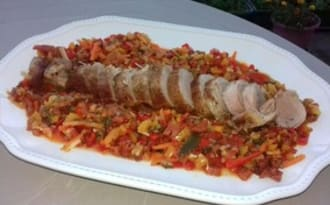 Filet mignon de porc et poêlée de légumes méditerranéens au chorizo