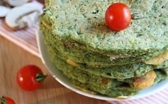 Galettes ou pancakes épinards-champignons