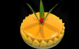 Tarte exotique ananas banane mangue