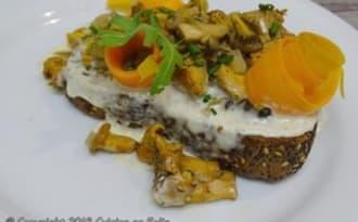 Tartine rôtie, crème de fromages et fricassée de girolles et chanterelles