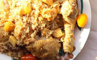 Pilaf au poulet et aux coings