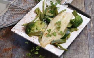 Soles légumes verts et béchamel crémeuse au safran
