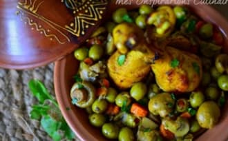 Tajine de pilons de poulet aux olives champignons et carottes