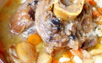Jarret de boeuf, abricots secs et miel