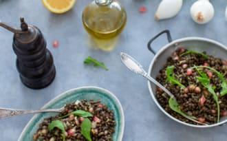 Salade de lentilles, grenade et citron