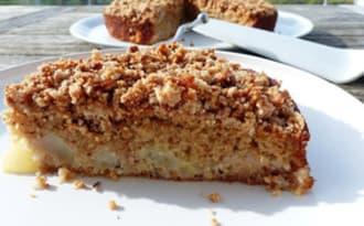 Crumb'cake poires, amandes et noisettes