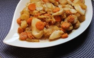 Dos de cabillaud aux carottes et pommes de terre réalisé