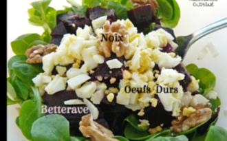 Salade de mâche, betterave et noix