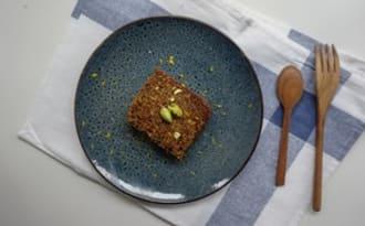Cake fondant à la pistache, orange et huile d'olive