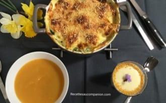 Votre menu de l'entrée au dessert, velouté de légumes œufs florentine crème dessert sans œuf chocolat blanc
