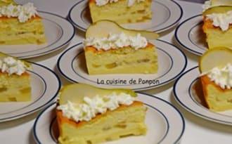 Gâteau magique aux poires flambées à la liqueur de poire Williams