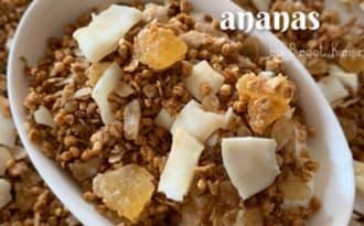 Le granola maison quinoa soufflé, coco, ananas et sirop batterie
